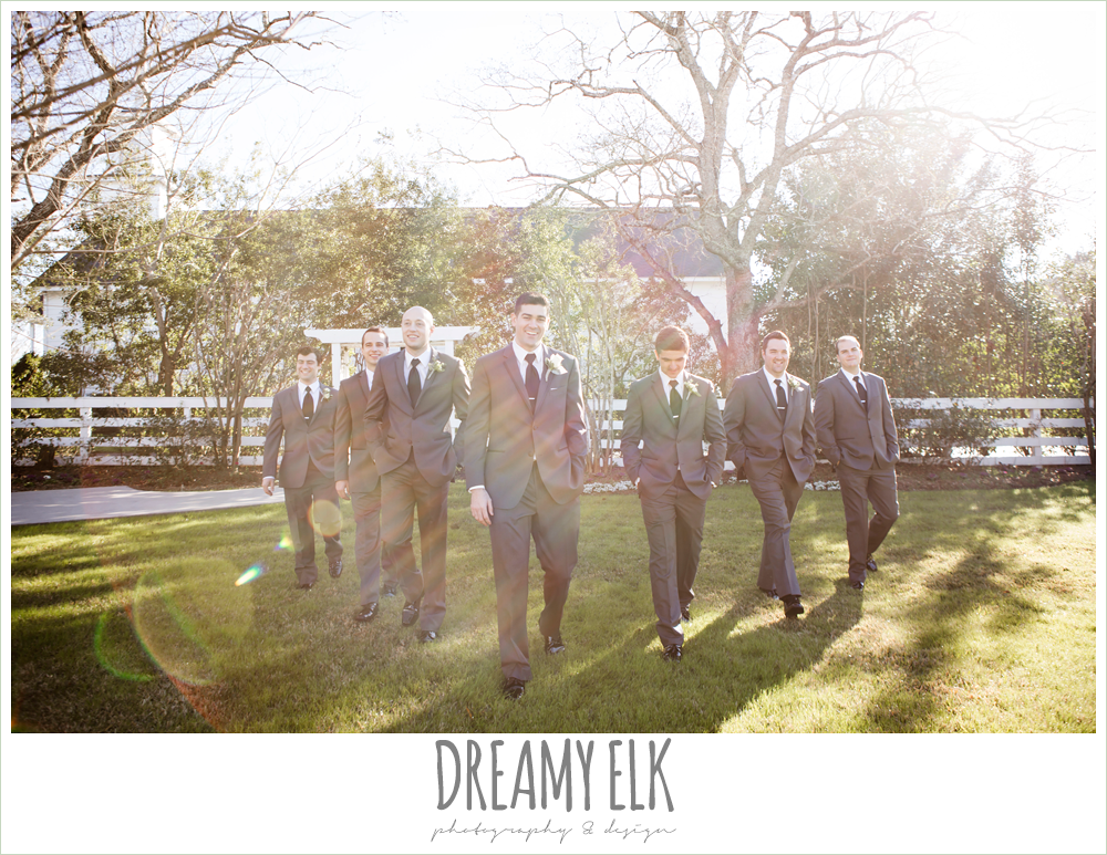 groom and groomsmen in dark gray suits, morning winter january wedding, ashelynn manor {dreamy elk photography and design}