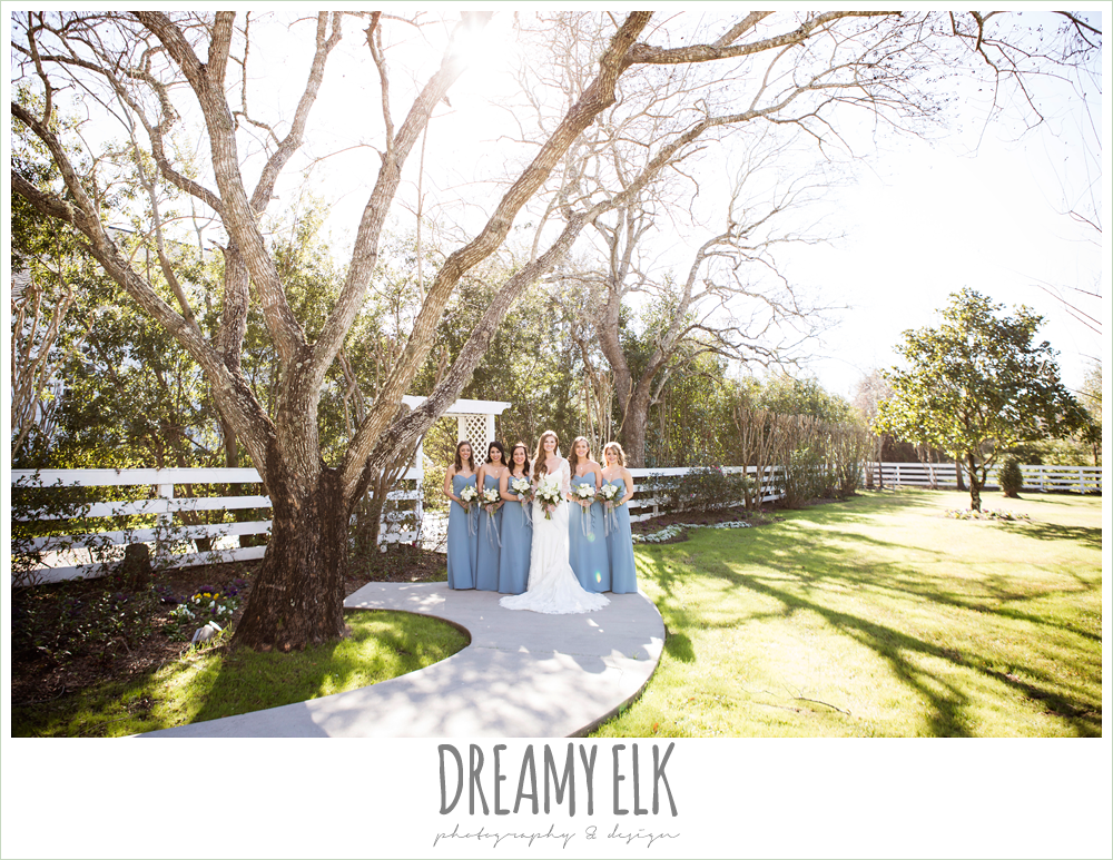 bride and bridesmaids, long alfred angelo bridesmaids dress, wedgewood blue, long sleeve lace wedding dress, long lace veil, white wedding bouquet, tricia barksdale designs, white house, morning winter january wedding, ashelynn manor {dreamy elk photography and design}
