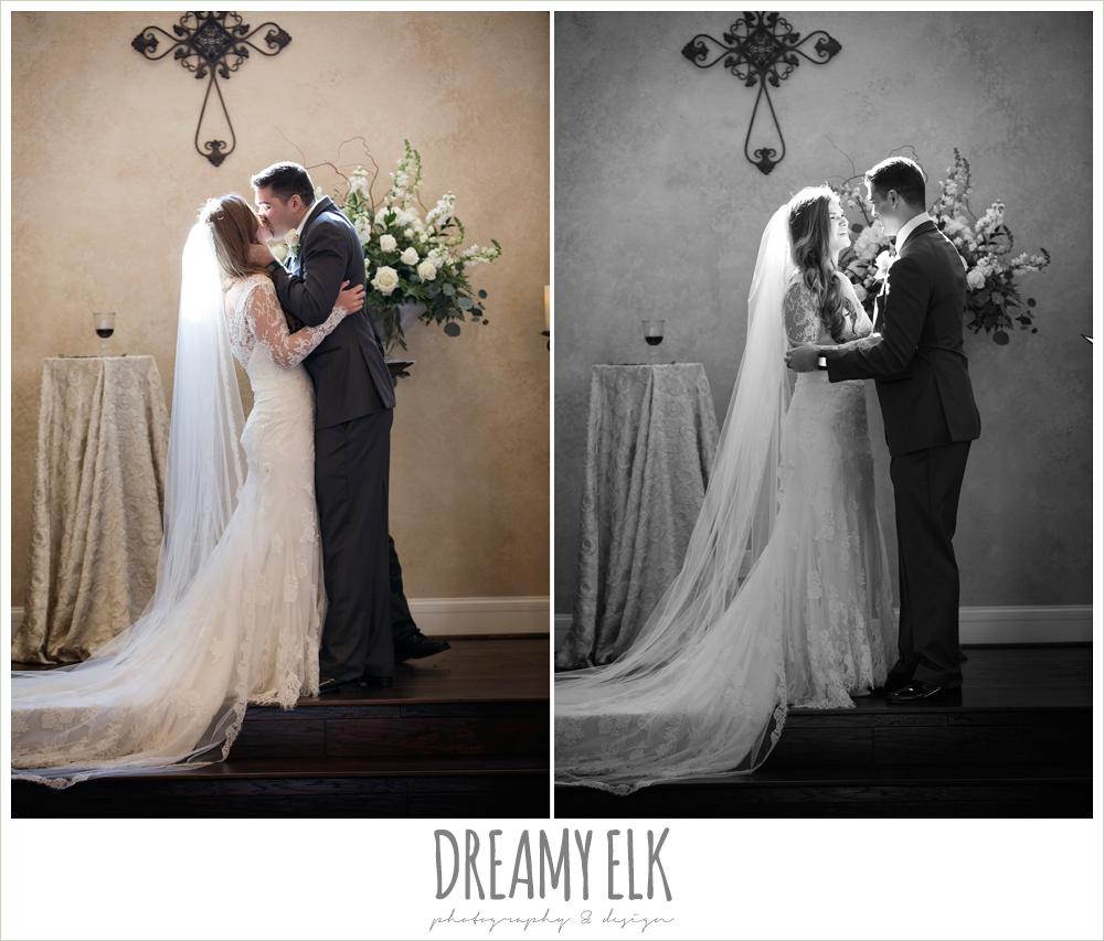 bride and groom kissing, chapel wedding, lace wedding dress, morning winter january wedding, ashelynn manor {dreamy elk photography and design}