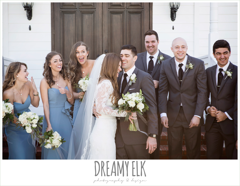 long alfred angelo bridesmaids dress, wedgewood blue, long sleeve lace wedding dress, long lace veil, white wedding bouquet, tricia barksdale designs, white house, morning winter january wedding, ashelynn manor {dreamy elk photography and design}
