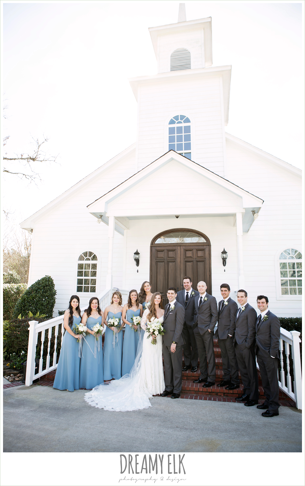 long alfred angelo bridesmaids dress, wedgewood blue, long sleeve lace wedding dress, long lace veil, white wedding bouquet, tricia barksdale designs, white chapel, morning winter january wedding, ashelynn manor {dreamy elk photography and design}