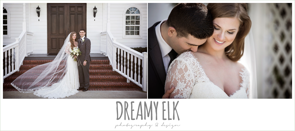 white wedding chapel, bride and groom, long sleeve lace wedding dress, long lace veil, white wedding bouquet, dark gray suit and black tie, morning winter january wedding, ashelynn manor {dreamy elk photography and design}