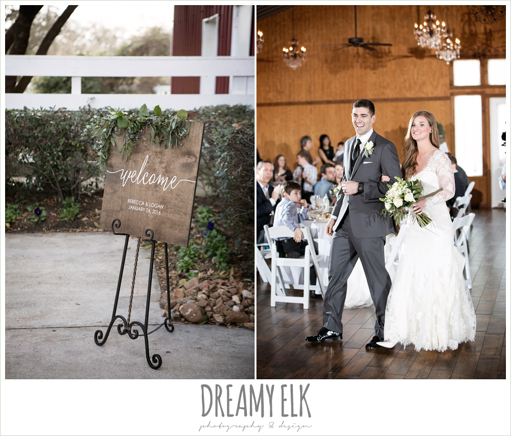 wooden welcome sign, bride and groom entering reception, long sleeve lace wedding dress, long lace veil, dark gray suit and black tie, morning winter january wedding, ashelynn manor {dreamy elk photography and design}