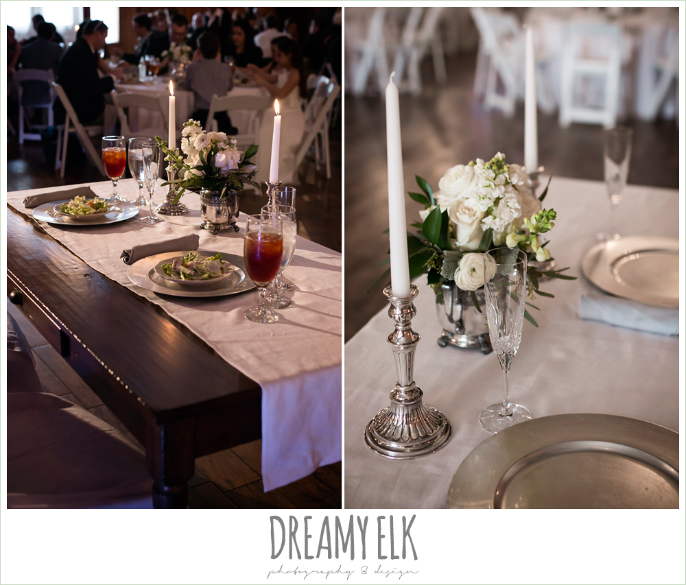 white floral decorations, table centerpieces, sweetheart table, morning winter january wedding, ashelynn manor {dreamy elk photography and design}