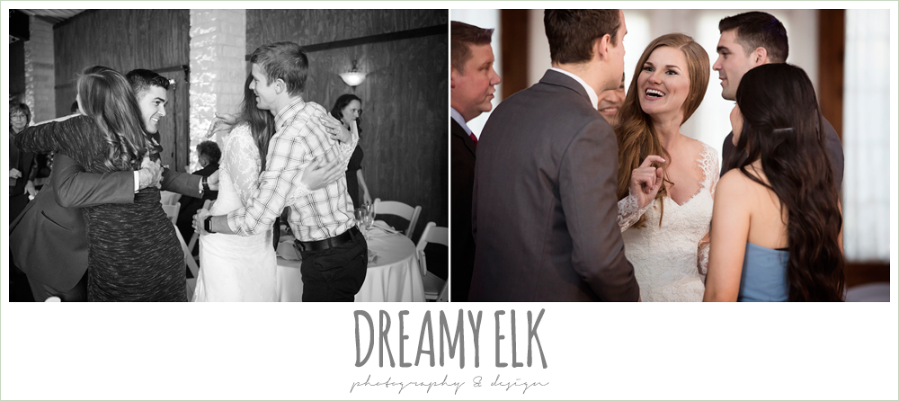 bride and groom greeting guests at wedding reception, morning winter january wedding, ashelynn manor {dreamy elk photography and design}