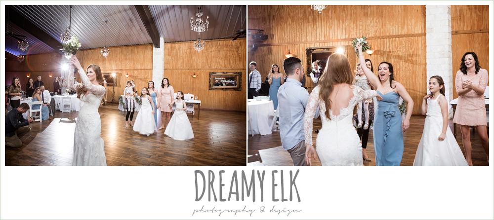 bouquet toss at wedding reception, morning winter january wedding, ashelynn manor {dreamy elk photography and design}