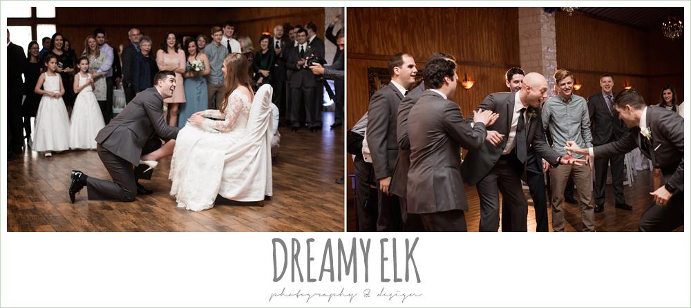 garter toss at wedding reception, morning winter january wedding, ashelynn manor {dreamy elk photography and design}
