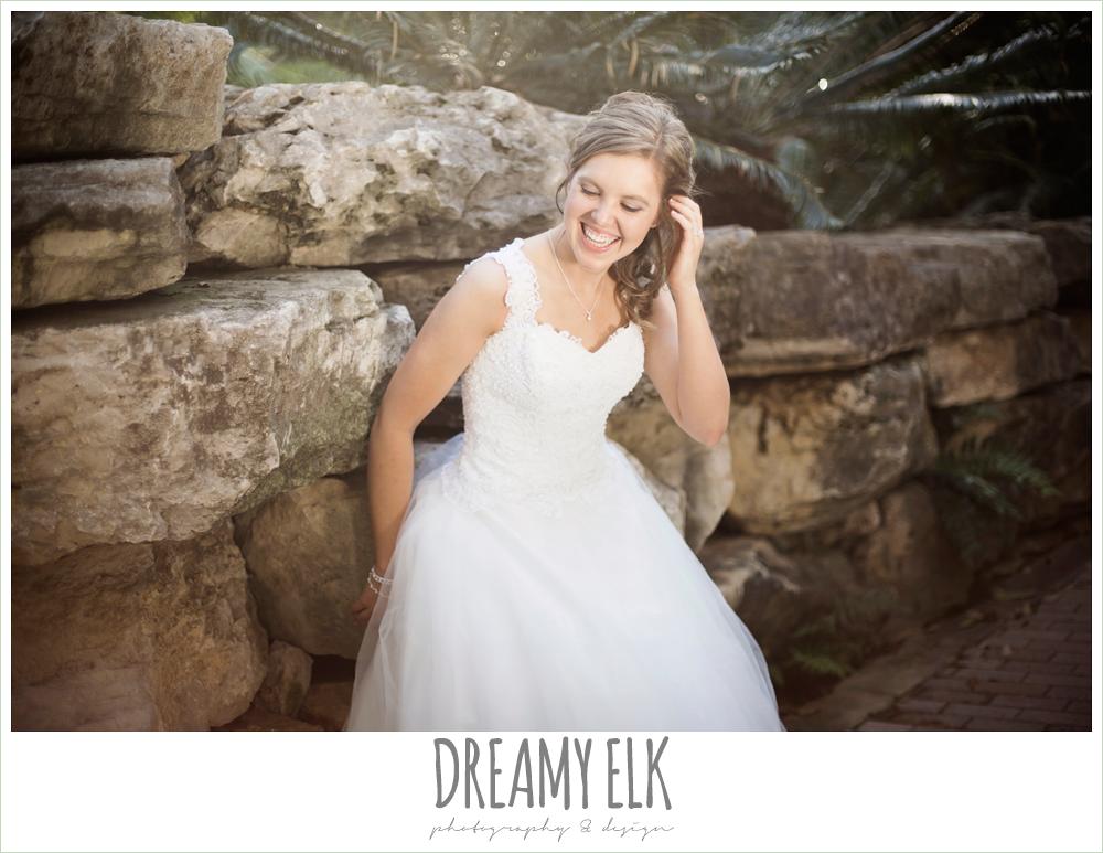 wedding hair updo, lace ball gown wedding dress, outdoor spring bridal photo, zilker botanical gardens, austin, texas {dreamy elk photography and design}