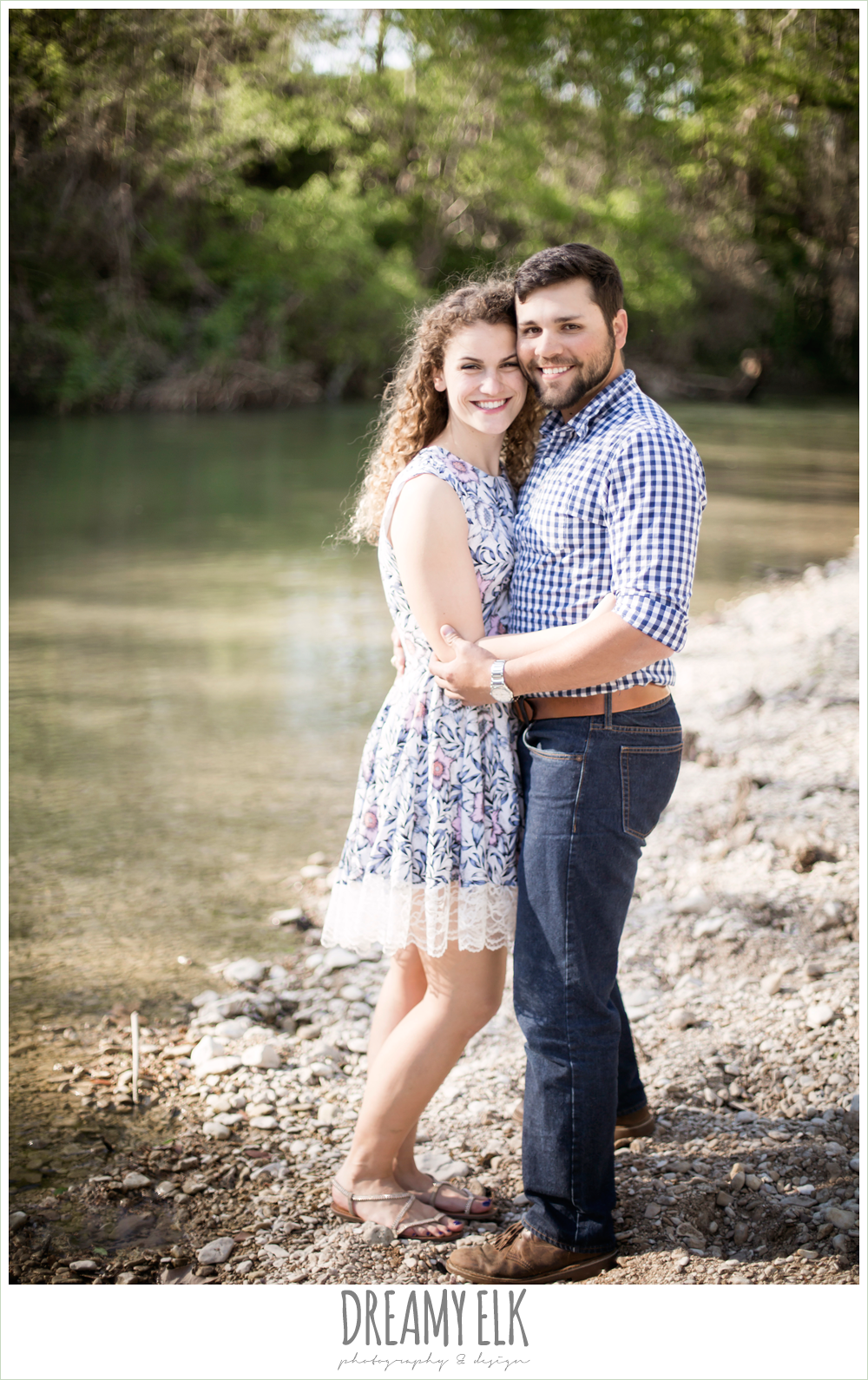 river, outdoor spring farm engagement photo, austin, texas {dreamy elk photography and design}