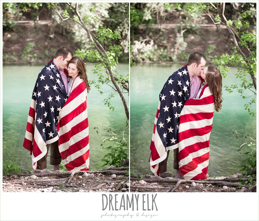 zilker metropolitan park, austin, texas, summer engagement photo with american flag {dreamy elk photography and design}