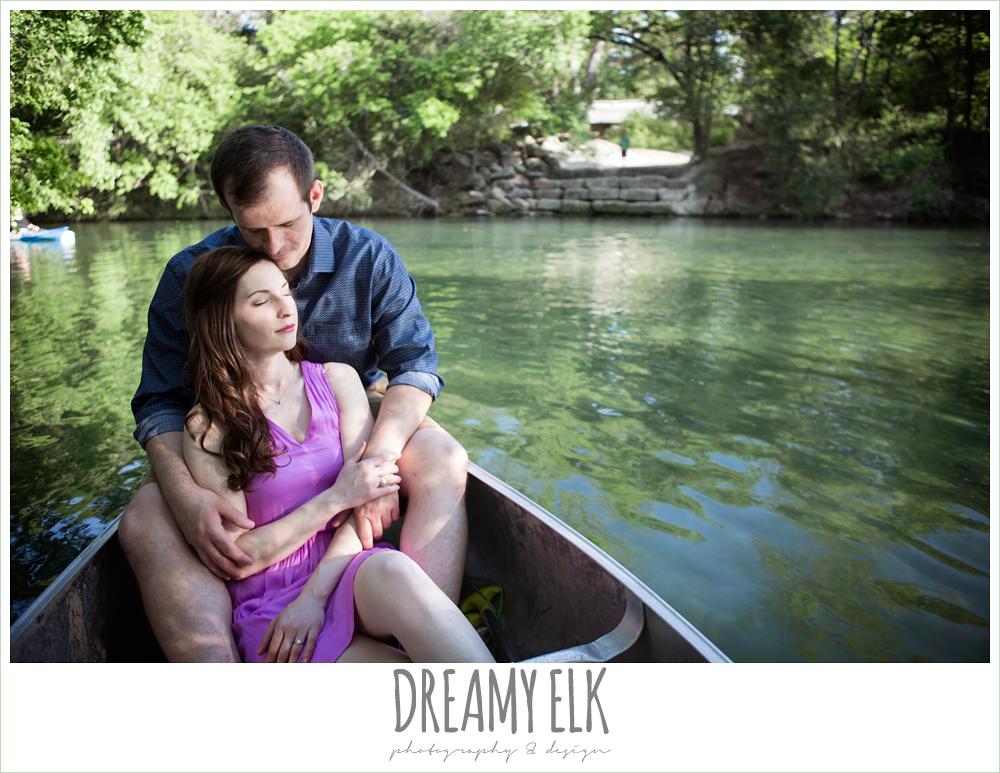 zilker metropolitan park, austin, texas, summer engagement photo in a canoe {dreamy elk photography and design}