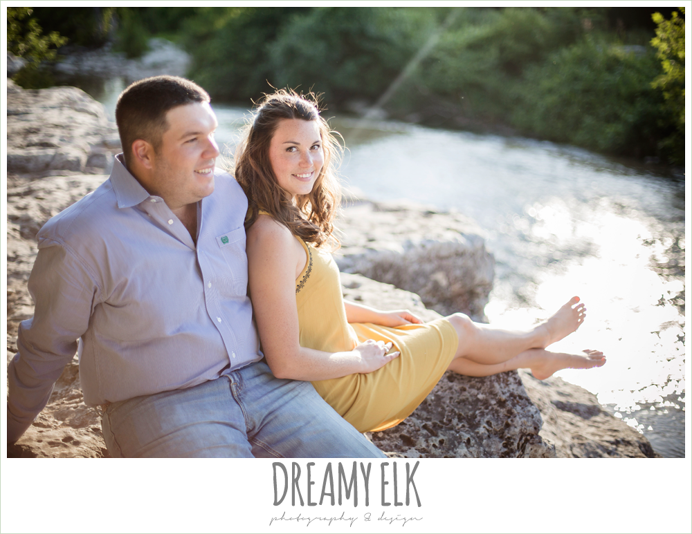 outdoor summer creekside engagement photo, bull creek park, austin, texas {dreamy elk photography and design}
