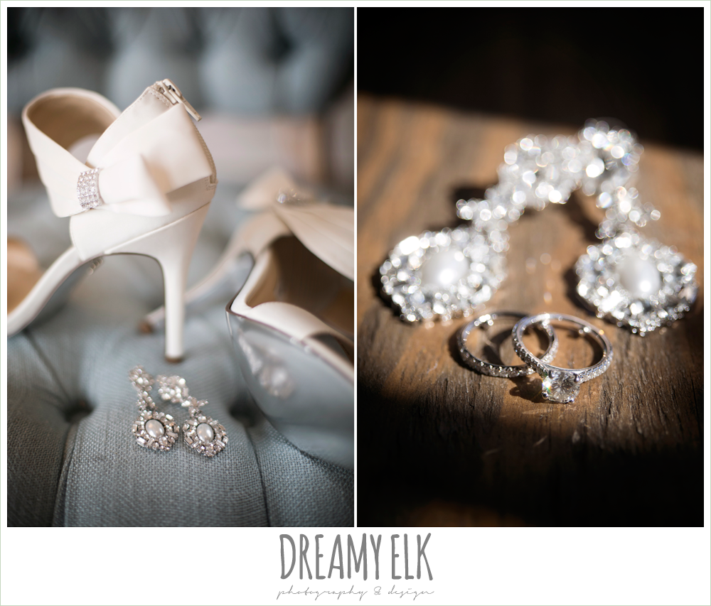wedding jewelry, solitaire engagement ring, wedding shoes with bows, rustic chic, spring wedding photo, big sky barn, montgomery, texas {dreamy elk photography and design}