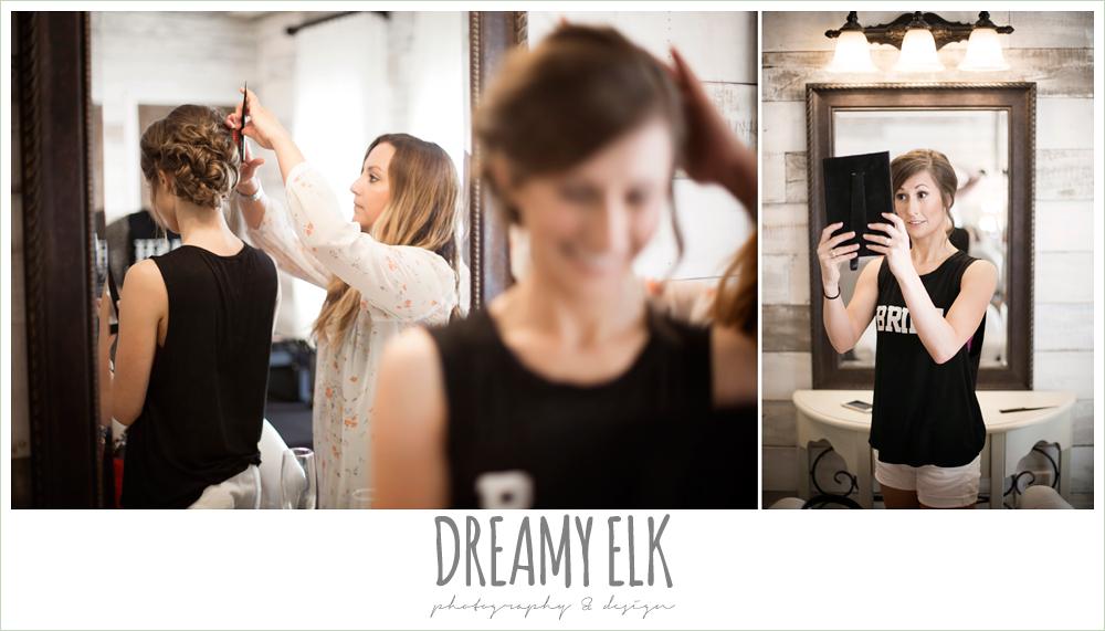bride getting hair done, bride tank top, rustic chic, spring wedding photo, big sky barn, montgomery, texas {dreamy elk photography and design}