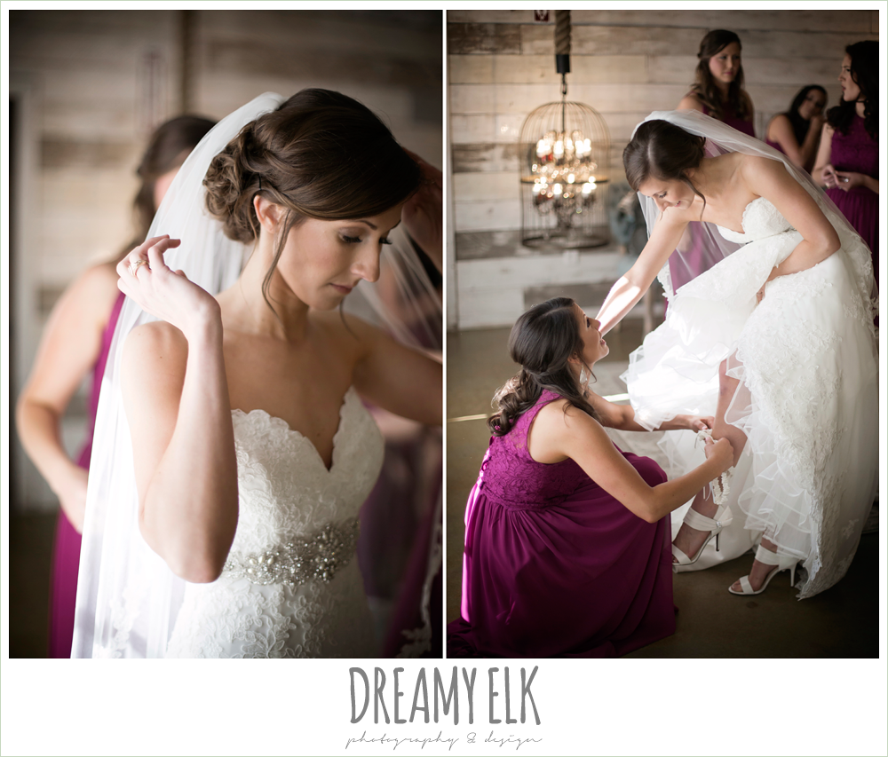 bride getting dressed, mulberry bridesmaids dress, ventura's bridal, rustic chic, spring wedding photo, big sky barn, montgomery, texas {dreamy elk photography and design}