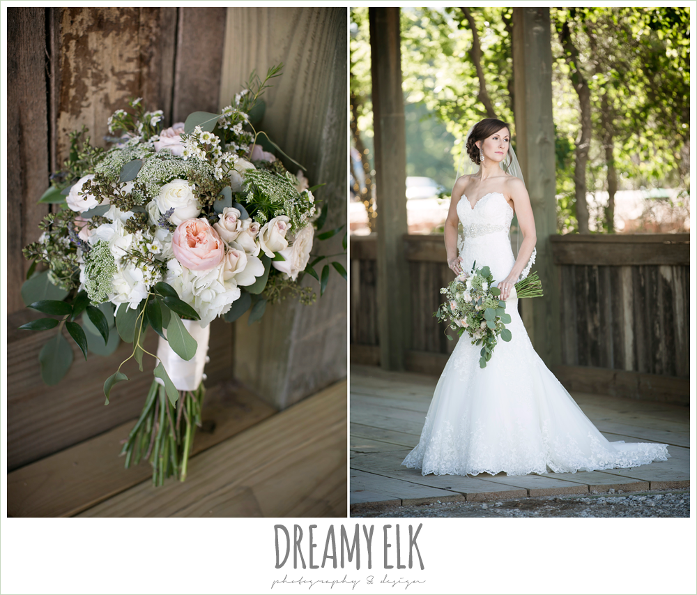 lace sweetheart mermaid wedding dress, bride, blush and greenery wedding bouquet, carter's florist, lace mermaid wedding dress, rustic chic, spring wedding photo, big sky barn, montgomery, texas {dreamy elk photography and design}