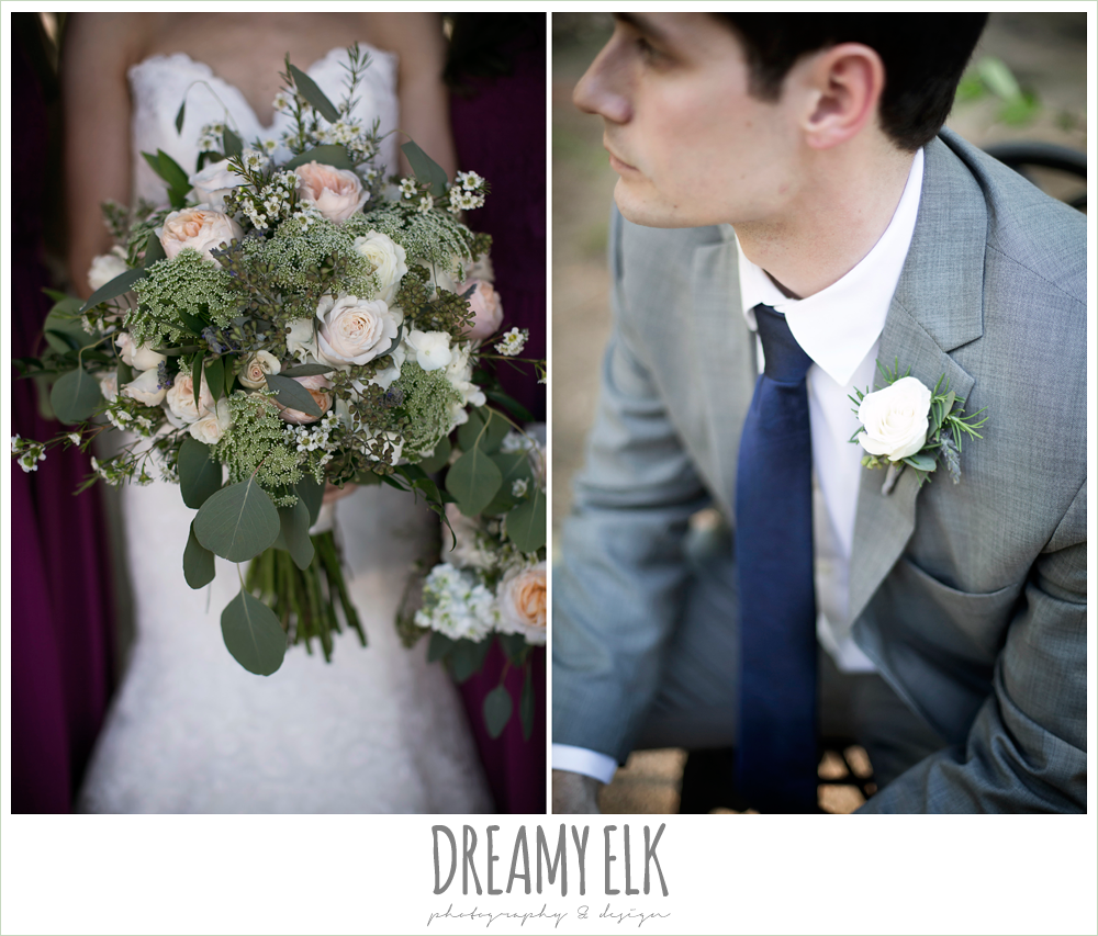 gray suit with navy tie, blush and greenery wedding bouquet, carter's florist, rustic chic, spring wedding photo, big sky barn, montgomery, texas {dreamy elk photography and design}