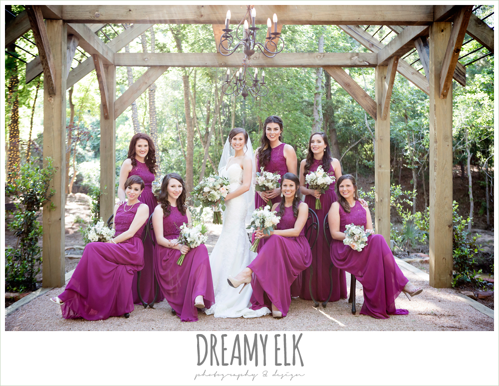 bride and bridesmaids, mulberry long bridesmaids dress, lace sweetheart mermaid wedding dress, blush and greenery wedding bouquet, carter's florist, rustic chic, spring wedding photo, big sky barn, montgomery, texas {dreamy elk photography and design}