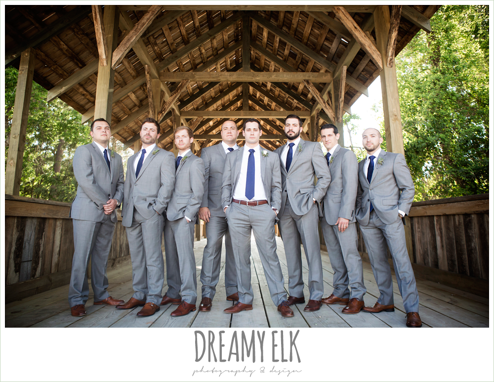 groom and groomsmen, gray suit with navy tie, rustic chic, spring wedding photo, big sky barn, montgomery, texas {dreamy elk photography and design}