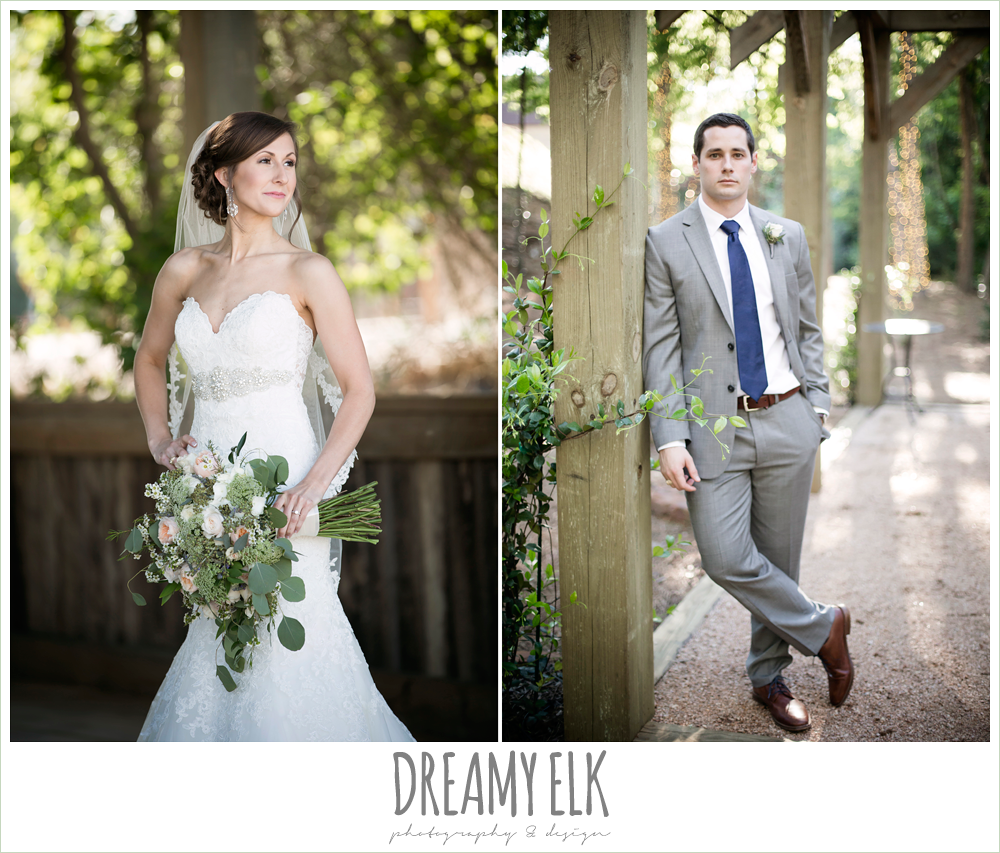 gray suit with navy tie, lace sweetheart mermaid wedding dress, blush and greenery wedding bouquet, carter's florist, rustic chic, spring wedding photo, big sky barn, montgomery, texas {dreamy elk photography and design}