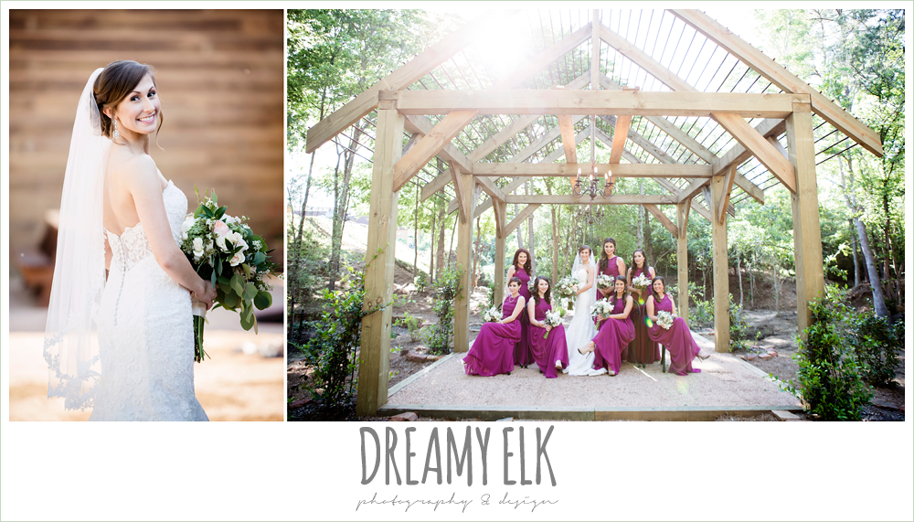 mulberry long bridesmaids dress, lace sweetheart mermaid wedding dress, blush and greenery wedding bouquet, carter's florist, rustic chic, spring wedding photo, big sky barn, montgomery, texas {dreamy elk photography and design}