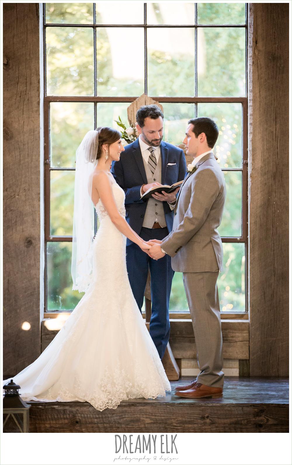 lace mermaid wedding dress, wedding ceremony, rustic chic, spring wedding photo, big sky barn, montgomery, texas {dreamy elk photography and design}