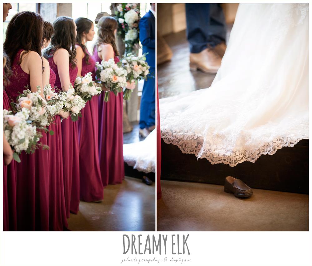 mulberry bridesmaid dresses, wedding ceremony, rustic chic, spring wedding photo, big sky barn, montgomery, texas {dreamy elk photography and design}