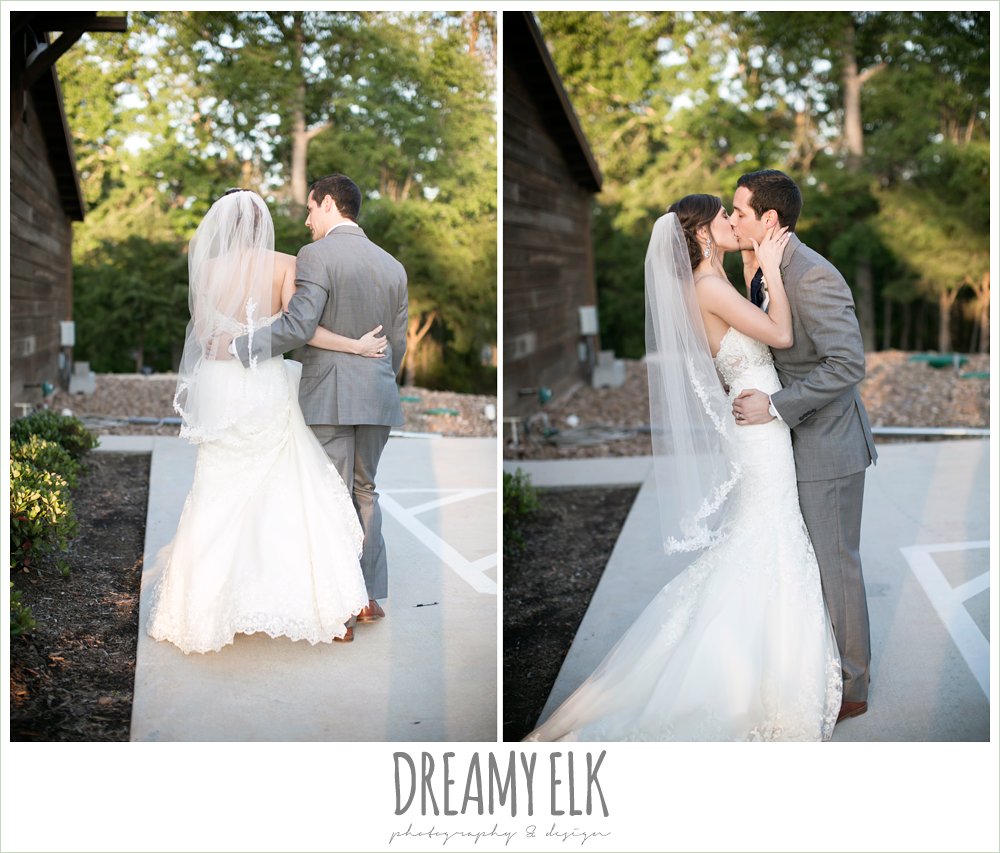 bride and groom kissing, lace mermaid wedding dress, rustic chic, spring wedding photo, big sky barn, montgomery, texas {dreamy elk photography and design}
