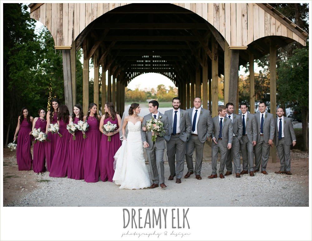 bridal party photo, bride and groom, sweetheart lace wedding dress, gray suit, mulberry bridesmaids dresses, rustic chic, spring wedding photo, big sky barn, montgomery, texas {dreamy elk photography and design}