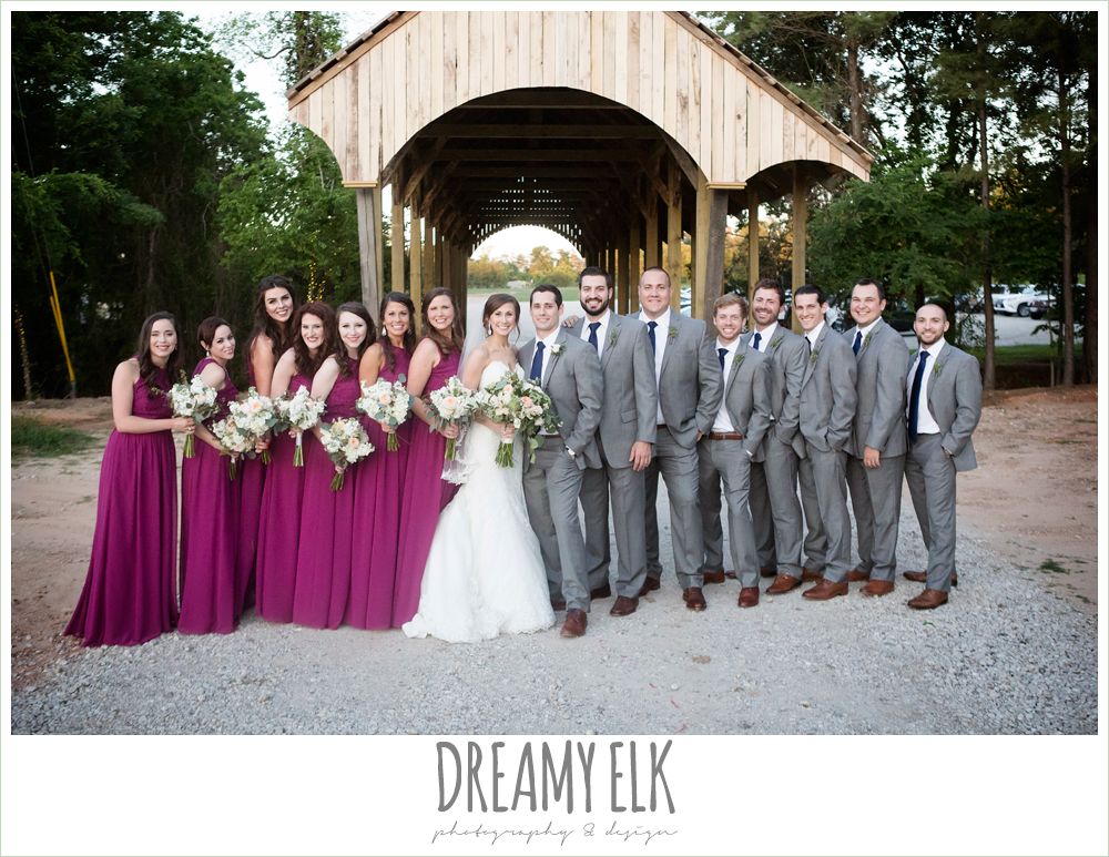 full bridal party photo, bride and groom, sweetheart lace wedding dress, gray suit, mulberry bridesmaids dresses, rustic chic, spring wedding photo, big sky barn, montgomery, texas {dreamy elk photography and design}