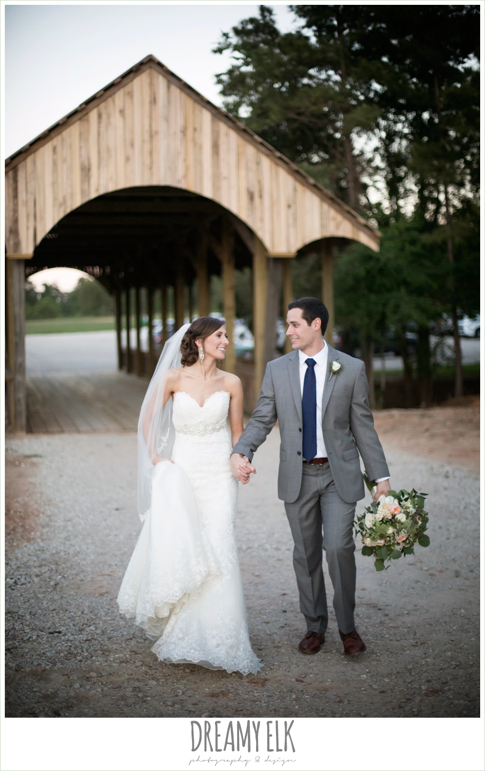 bride and groom, sweetheart lace wedding dress, gray suit, mulberry bridesmaids dresses, rustic chic, spring wedding photo, big sky barn, montgomery, texas {dreamy elk photography and design}