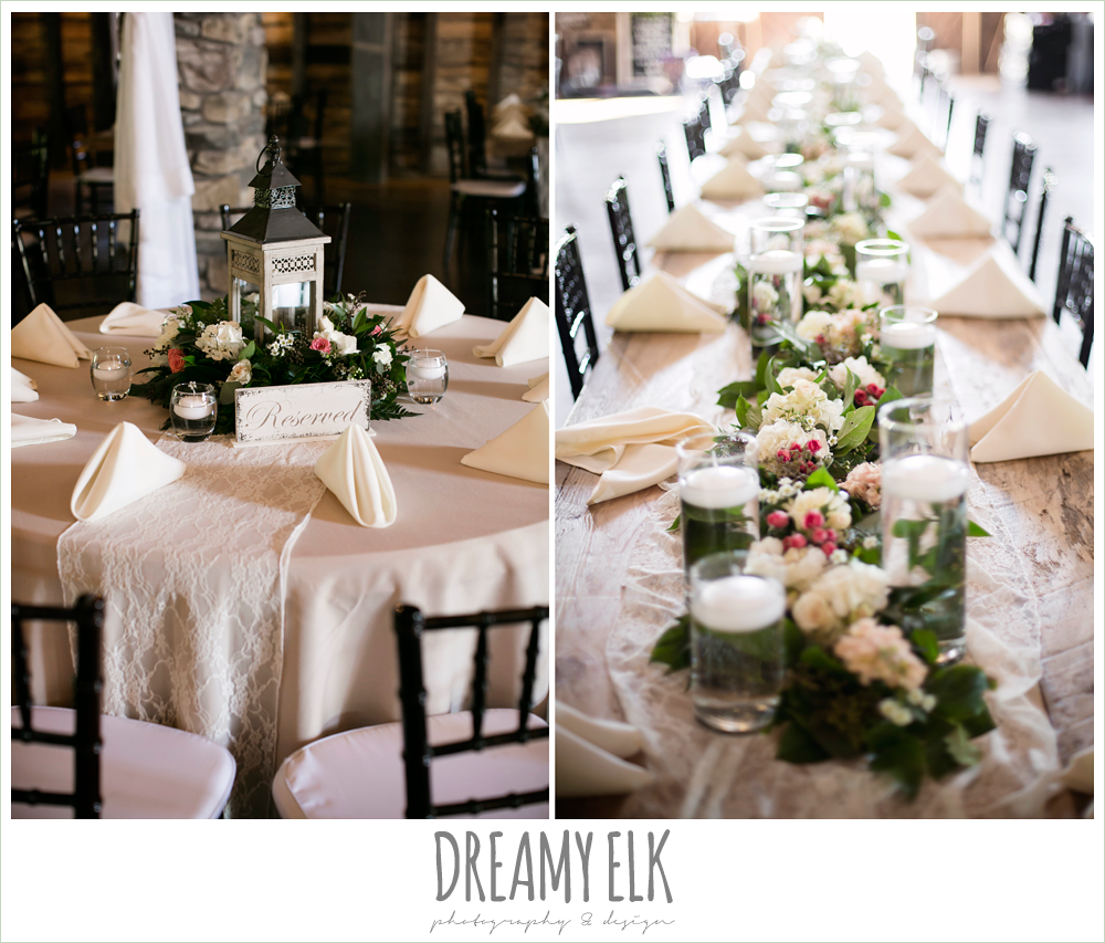 table centerpieces, wedding reception decorations, rustic chic, spring wedding photo, big sky barn, montgomery, texas {dreamy elk photography and design}