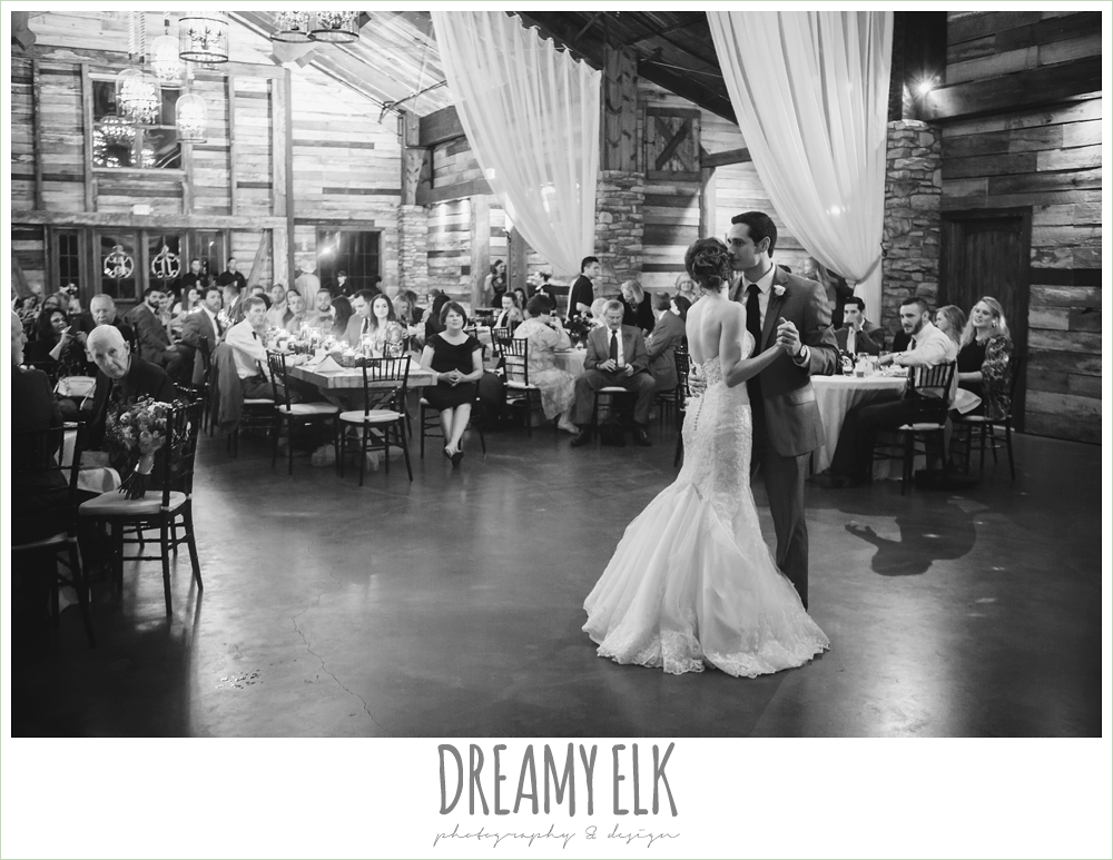 bride and groom, first dance, wedding reception decorations, rustic chic, spring wedding photo, big sky barn, montgomery, texas {dreamy elk photography and design}