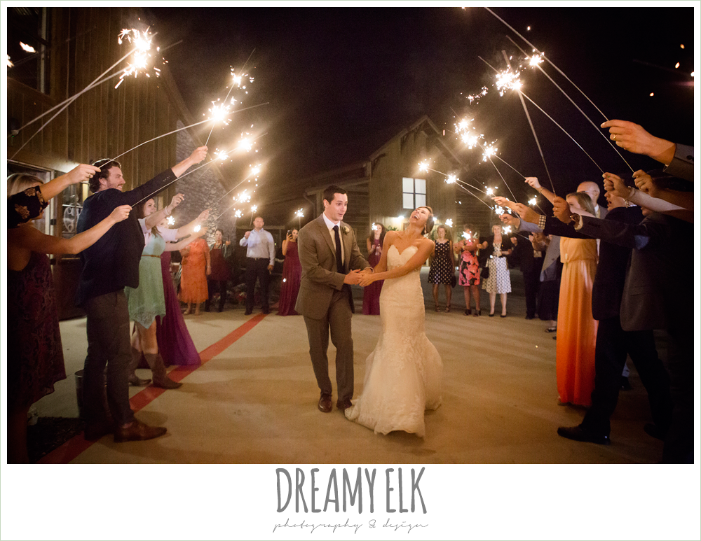 wedding send off with sparklers, rustic chic, spring wedding photo, big sky barn, montgomery, texas {dreamy elk photography and design}