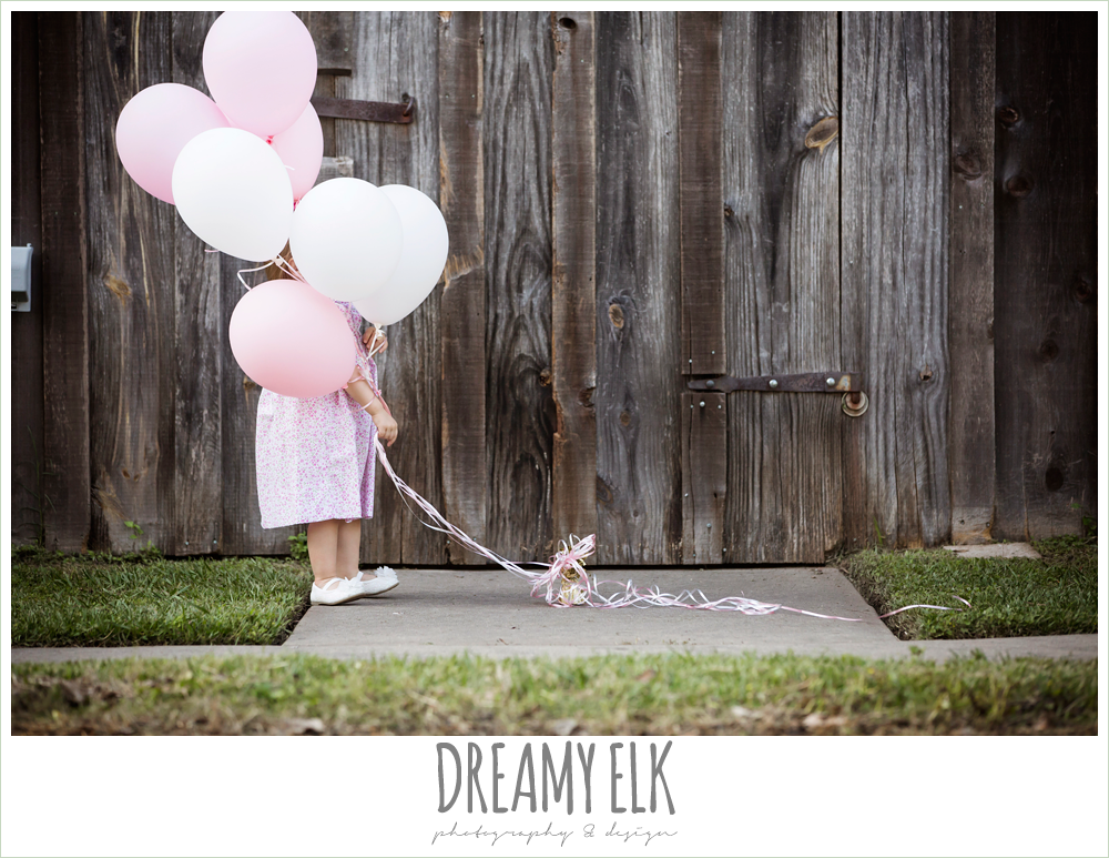 18 month old photo, photo of girl toddler outside with pink balloons