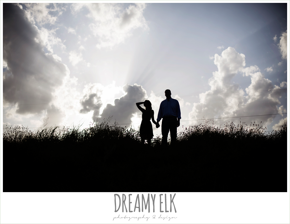 couple in silhouette, walnut creek park, summer engagement photo, austin, texas {dreamy elk photography and design}