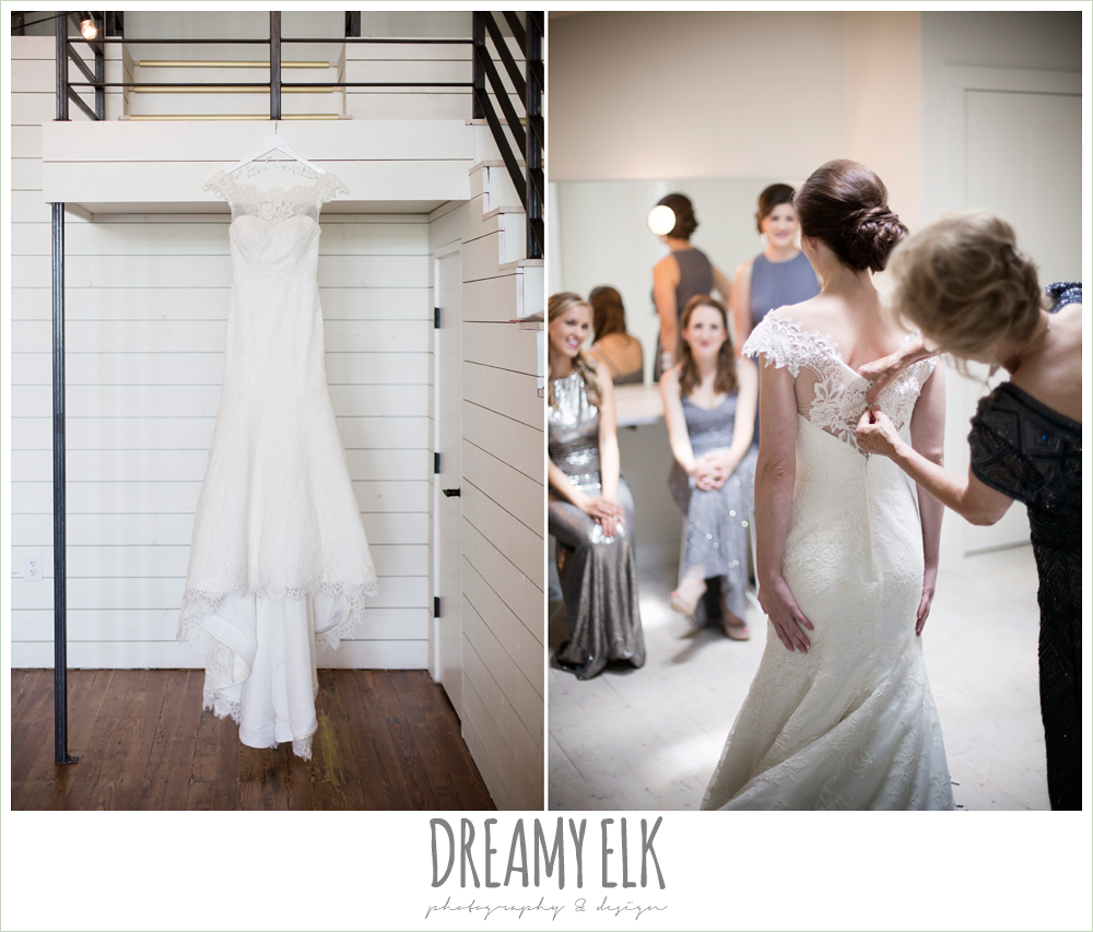 lace wedding dress with lace sleeves, bride getting dressed, wedding dress hanging on hangar, one eleven east, silver sequin wedding, fourth of july wedding photo {dreamy elk photography and design}