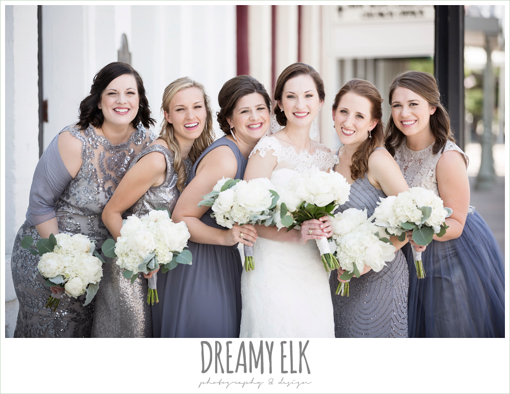 white peony wedding bouquet, bridesmaids, mix and match silver gray blue dresses, bride, lace wedding dress with lace sleeves, lace trimmed veil, one eleven east, silver sequin wedding, fourth of july wedding photo {dreamy elk photography and design}