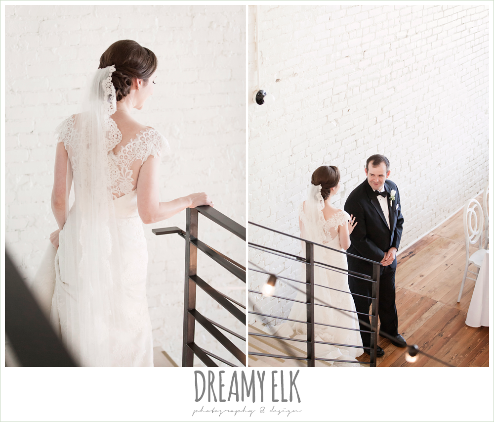 bride, lace wedding dress with lace sleeves, lace trimmed veil, bride and groom first look, one eleven east, silver sequin wedding, fourth of july wedding photo {dreamy elk photography and design}