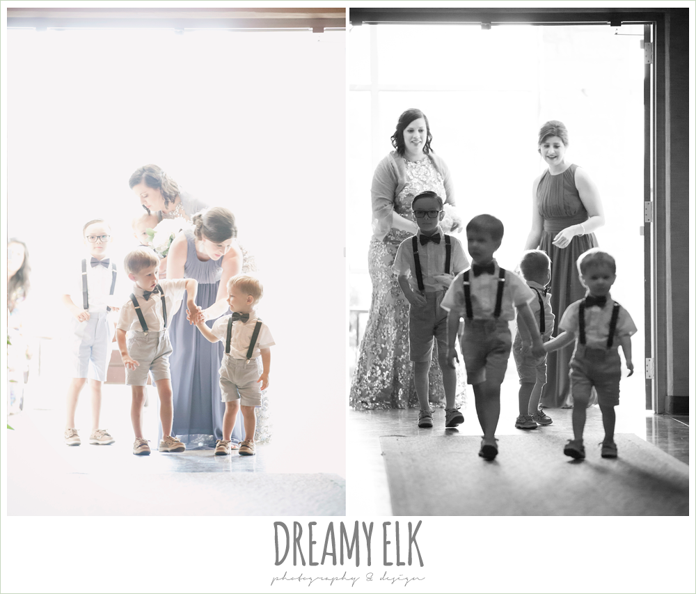 ring bearers walking down the aisle, indoor wedding ceremony, one eleven east, silver sequin wedding, fourth of july wedding photo {dreamy elk photography and design}