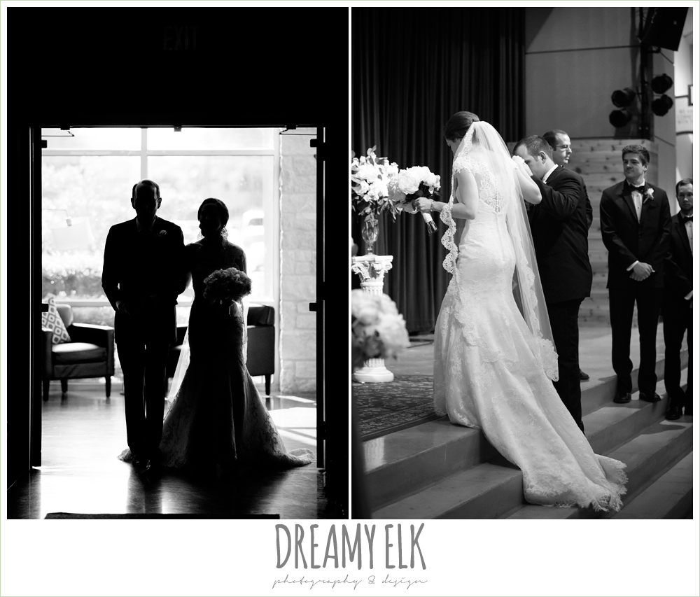 bride, lace wedding dress with lace sleeves, lace trimmed veil, bride walking down the aisle, silhouette, indoor wedding ceremony, silver sequin wedding, fourth of july wedding photo {dreamy elk photography and design}f
