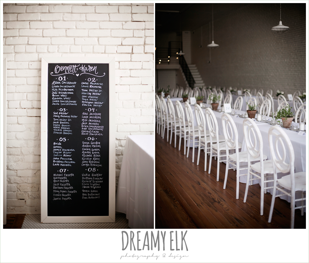 seating assignment chalkboard sign, long white tables, indoor wedding reception, one eleven east, silver sequin wedding, fourth of july wedding photo {dreamy elk photography and design}