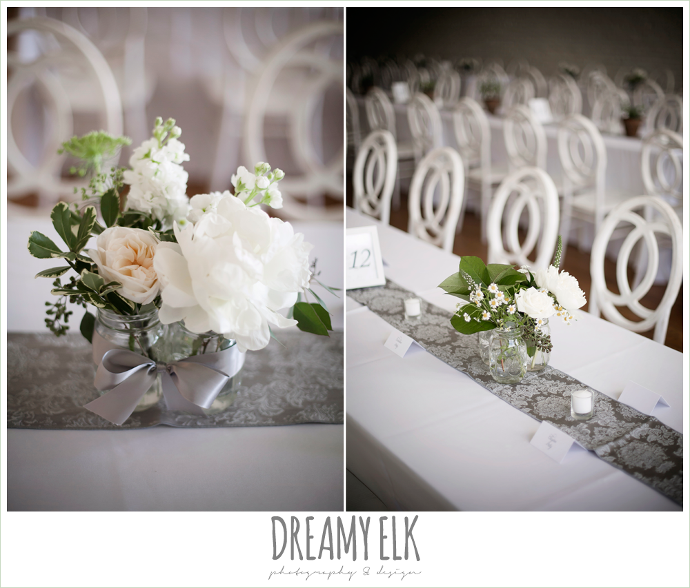 white flower mason jar centerpieces, indoor wedding reception, one eleven east, silver sequin wedding, fourth of july wedding photo {dreamy elk photography and design}