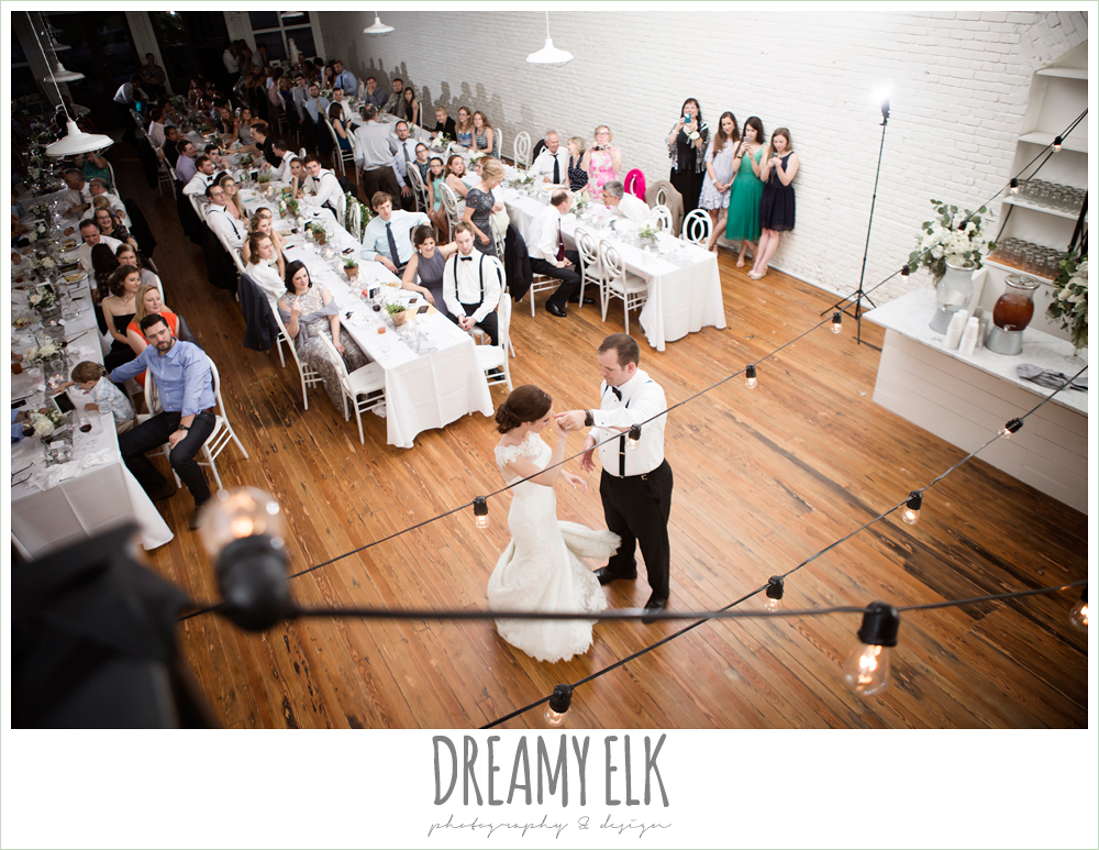 bride and groom first dance, indoor wedding reception, one eleven east, silver sequin wedding, fourth of july wedding photo {dreamy elk photography and design}