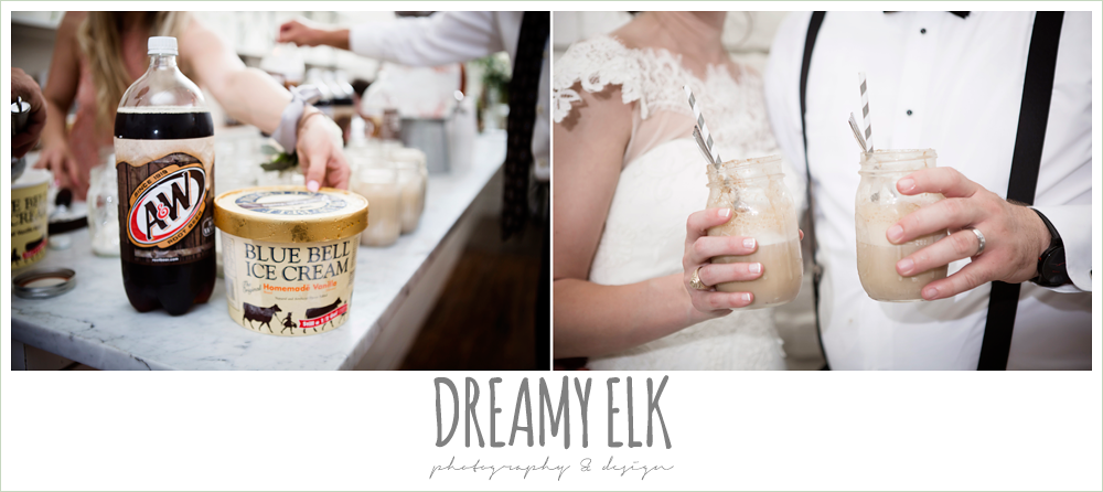 blue bell ice cream root beer floats in mason jars, indoor wedding reception, one eleven east, silver sequin wedding, fourth of july wedding photo {dreamy elk photography and design}
