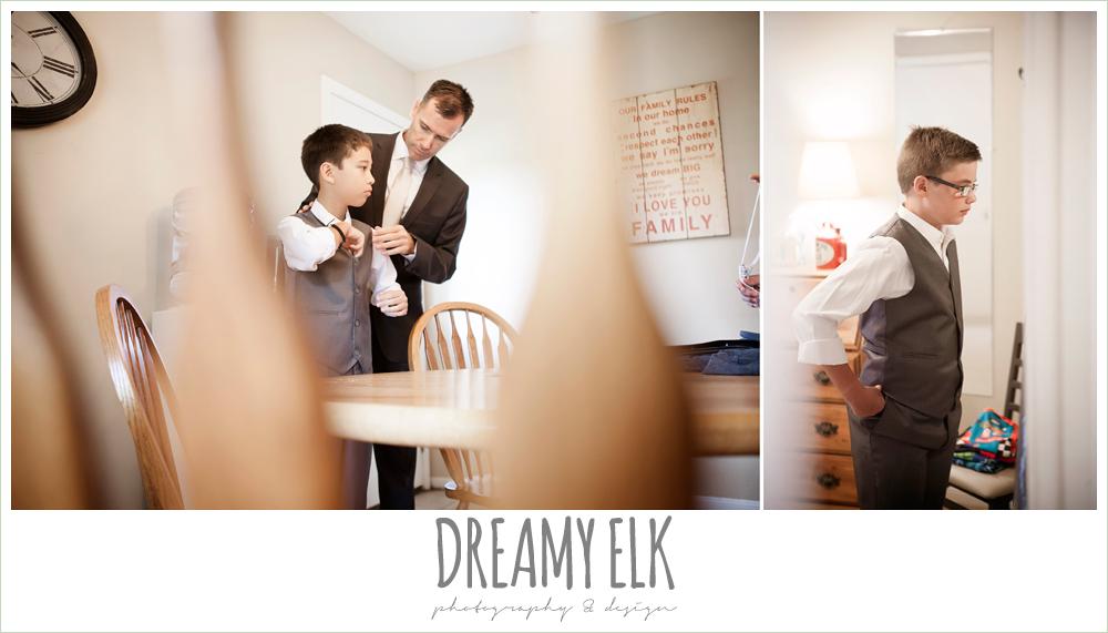 jcrew boys suits, groom helping son get dressed, july summer morning wedding, ashelynn manor, magnolia, texas {dreamy elk photography and design}