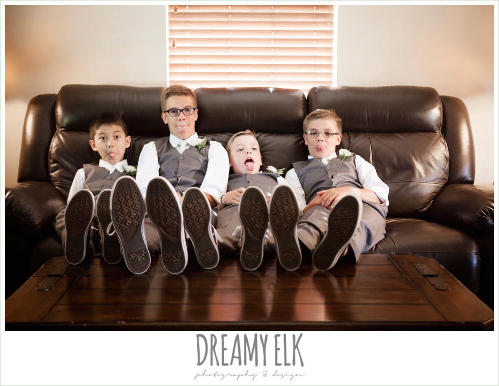 jcrew boys suits, funny kids at wedding, july summer morning wedding, ashelynn manor, magnolia, texas {dreamy elk photography and design}