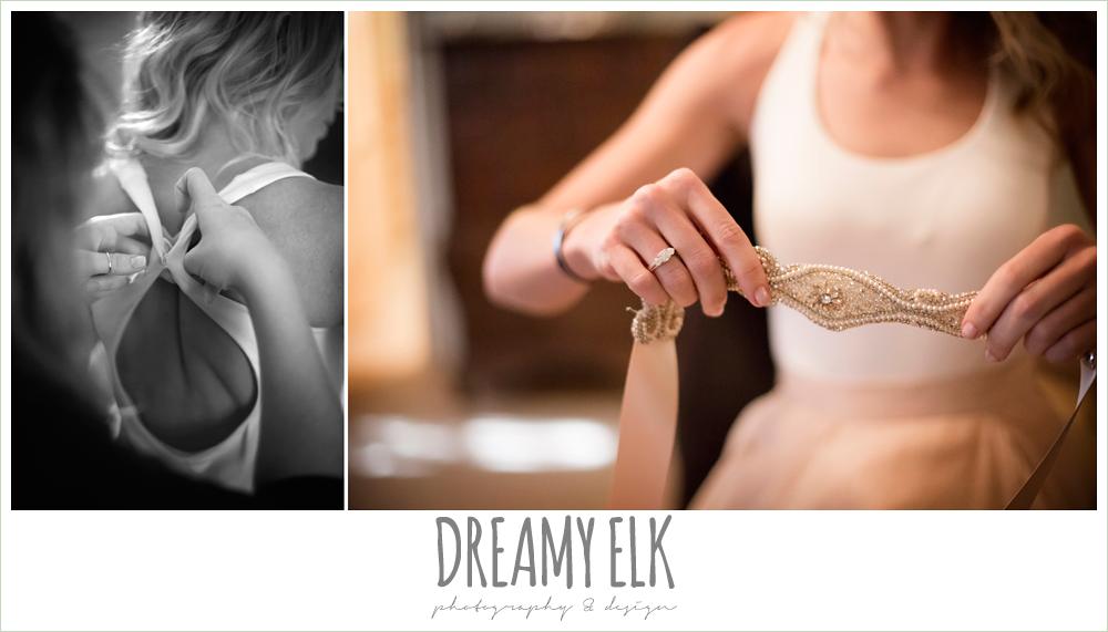 haute bride belt, bride getting dressed, july summer morning wedding, ashelynn manor, magnolia, texas {dreamy elk photography and design}