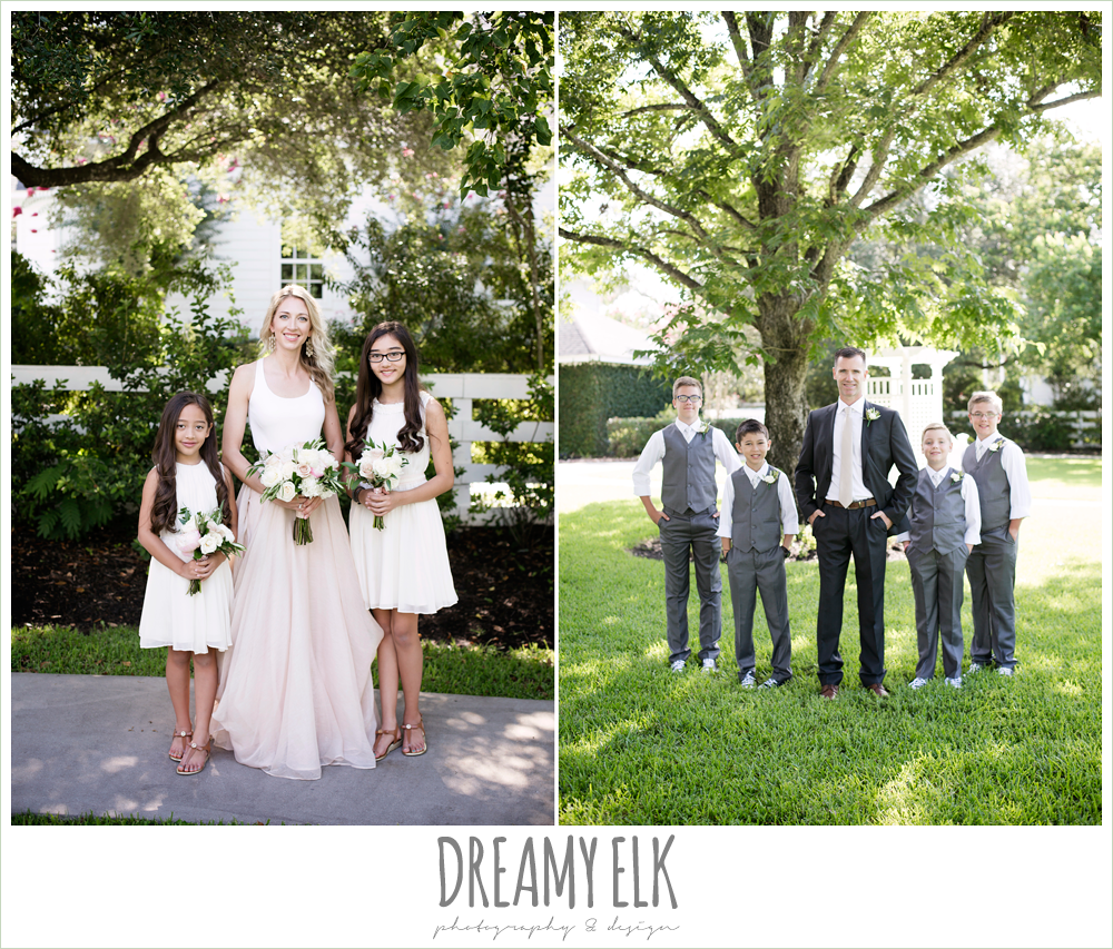 outdoor bridal party photo, bride and bridesmaids, groom and groomsmen, hugo boss groom's suit, jcrew girls dresses and boys suits, southern protocol bridal boutique, carol hannah kensington halter and blush skirt, july summer morning wedding, ashelynn manor, magnolia, texas {dreamy elk photography and design}