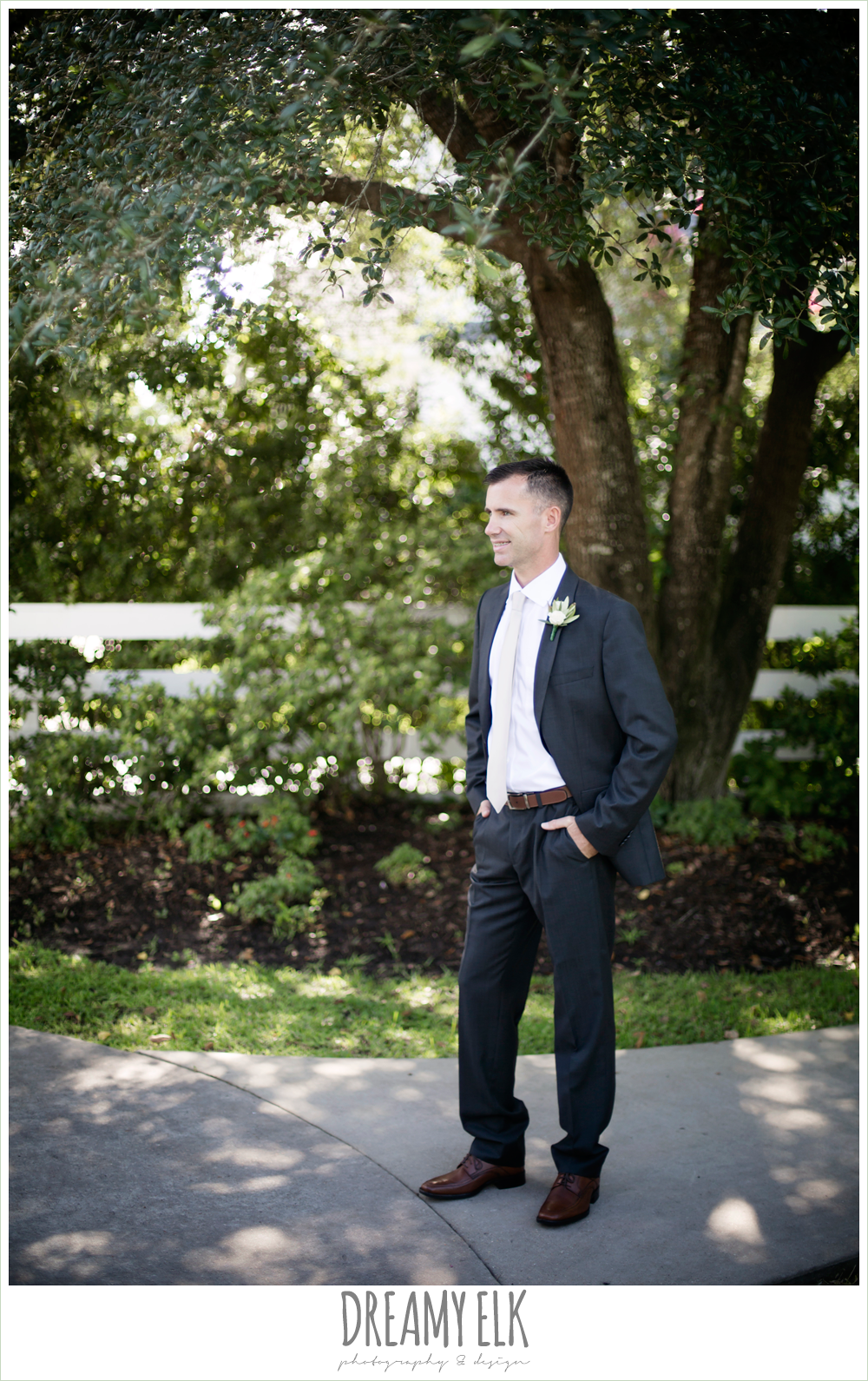 outdoor groom photo, hugo boss groom's suit, july summer morning wedding, ashelynn manor, magnolia, texas {dreamy elk photography and design}